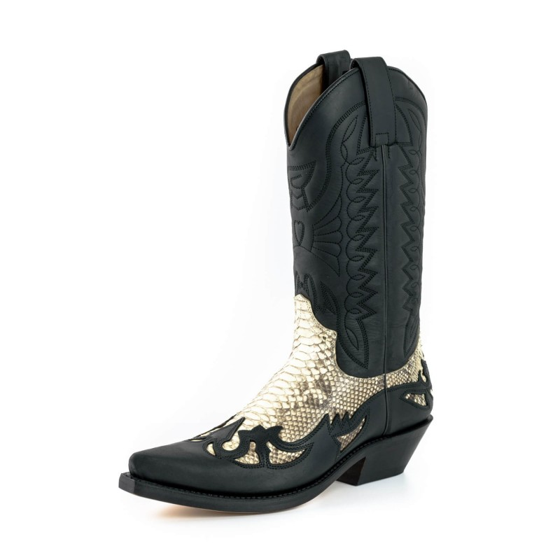 Mayura cowboy boots Model 1935-C in Crazy Old Negro - Natural Phyton