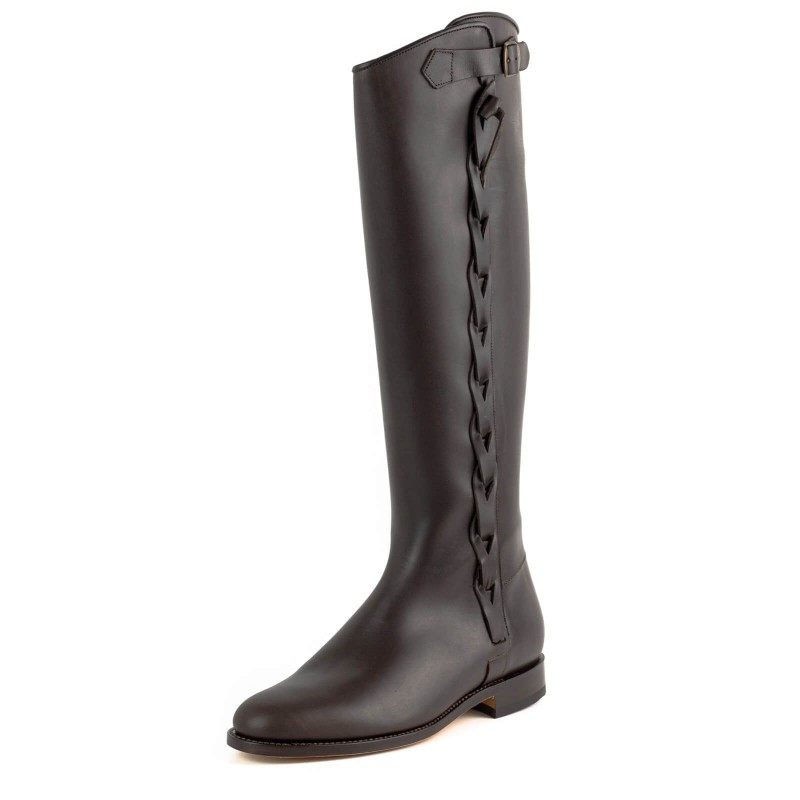 El Estribo boots Model 2063-CR in Ternera Flor Marron