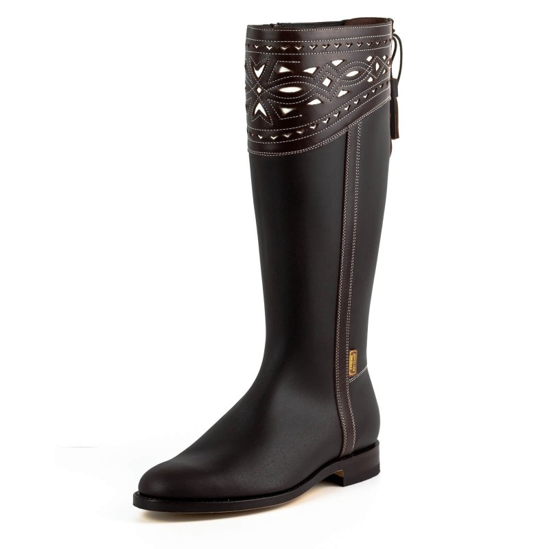 El Estribo boots Model 2377-1 in Serraje Castana - Box Marron
