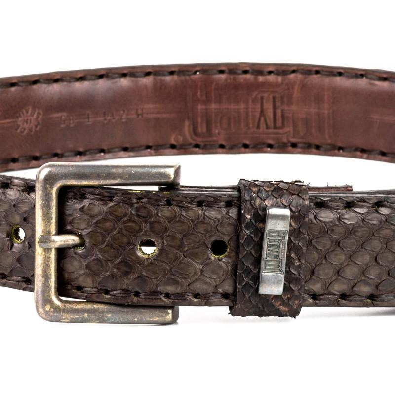 Mayura Belt in Crocodile / Python Castaña