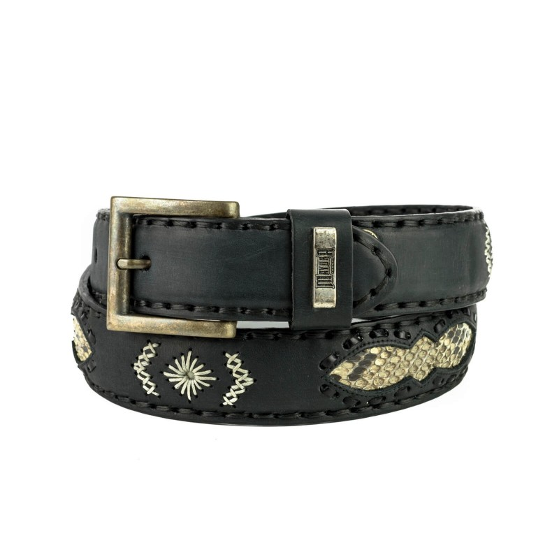 Belt in Vacuno Black / Natural Python