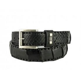 Belt in Crocodile / Python Black