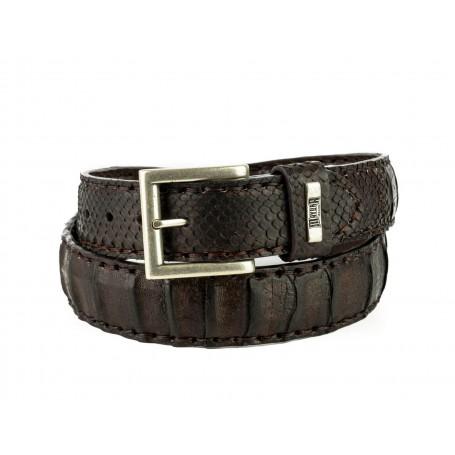 Belt in Crocodile / Python Castaña