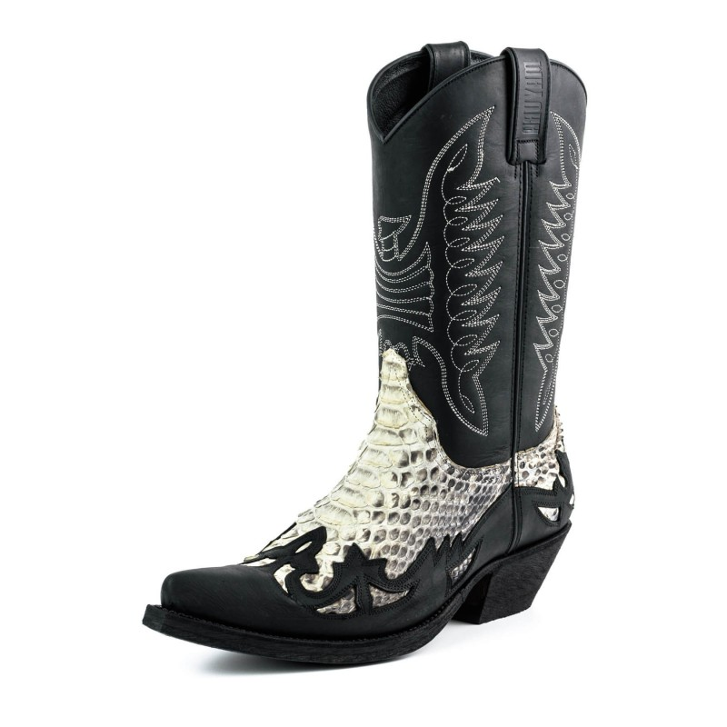 Mayura cowboy boots Model 11 in Crazy Old Negro - Natural Python